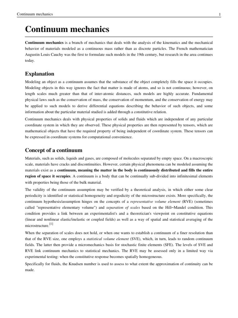 continuum mechanics continuum mechanics deformation mechanics rh scribd com