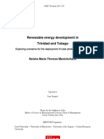Neisha Manickchand, Renewable Energy Development in Trinidad and Tobago - Exploring Scenarios for the deployment of solar photovoltaic systems, 6-2011