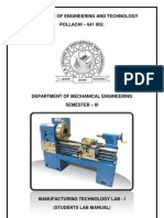 ME 2207 - Manufacturing Technology 1 - Lab Manual