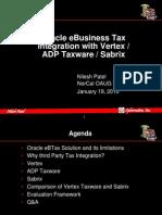 Tax Engine Comparison - Ebtax, Vertex, Sabrix, Taxware