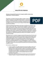 Boletín de Prensa - Transporte Público [8/ago/2012]