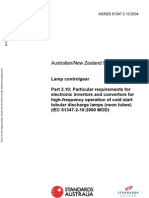 As NZS 61347.2.10-2004 Lamp Controlgear - Particular Requirements for Electronic Invertors and Convertors For