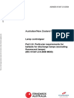 As NZS 61347.2.9-2004 Lamp Controlgear - Particular Requirements for Ballasts for Discharge Lamps (Excluding