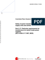 As NZS 61558.2.17-2001 Safety of Power Transformers Power Supply Units and Similar - Particular Requirements