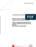 As NZS 61558.2.3-2001 Safety of Power Transformers Power Supply Units and Similar Devices - Particular Requir