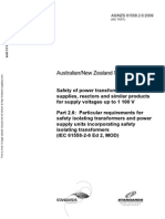 As NZS 61558.2.6-2009 (IEC TEXT) Safety of Power Transformers Power Supplies Reactors and Similar Products Fo