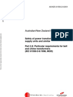 As NZS 61558.2.8-2001 Safety of Power Transformers Power Supply Units and Similar - Particular Requirements f