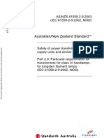 As NZS 61558.2.9-2003 Safety of Power Transformers Power Supply Units and Similar Devices - - Particular Requ