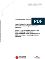 As NZS CISPR 16.4.3-2004 (2nd Edition) Specification for Radio Disturbance and Immunity Measuring Apparatus A
