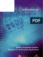 As NZS ISO 9004-2000 Quality Management Systems - Guidelines for Performance Improvements