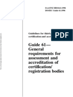 HB 18.61-1996 Guidelines for Third-party Certification and Accreditation Guide 61 - General Requirements For