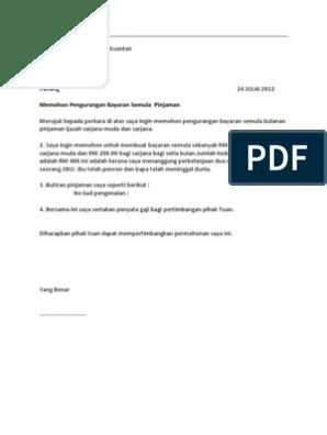 Surat Rayuan Pengurangan Bayaran Ptptn