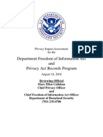 Privacy Pia Dhs Foia and Pa DHS Privacy Documents for Department-wide Programs 08-2012