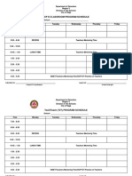 Ict Programs Schedule and Program Templates