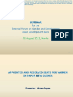 Appointed and Reserved Seats for Women in Papua New Guinea by Orovu Sepoe