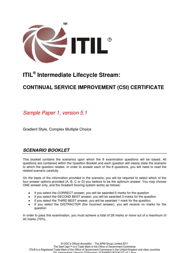 Itilv3 csi sample paper 1 itil swot analysis xflitez Gallery