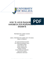 How to Avoid Plagiarism a Handbook for Postgraduate Students