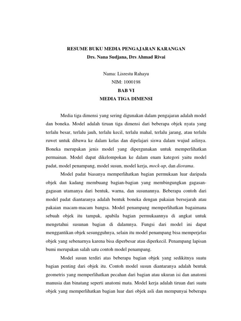 Resume Buku Media Pengajaran Karangan Drs Nana Sudjana Drs Ahmad Rivai