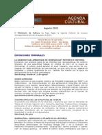 Agenda Cultural Museos Ministerio de Cultura - Agosto 2012