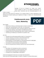 Ausschreibung Praktikum Sales / Marketing bei der Stickvogel GmbH