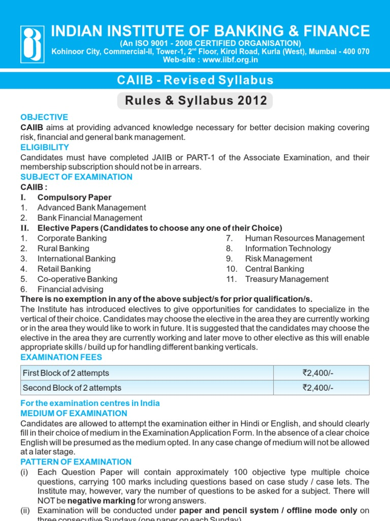 Workbooks jaiib workbook : CAIIB Syllabus | Risk | Reserve Bank Of India