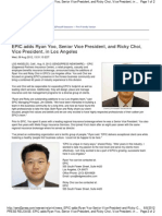 EPIC Adds Ryan Yoo, Senior Vice President, And Ricky Choi, Vice President, In Los Angeles