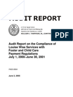 Compliance of Louise Wise Services With Foster and Child Care Payment Regulation