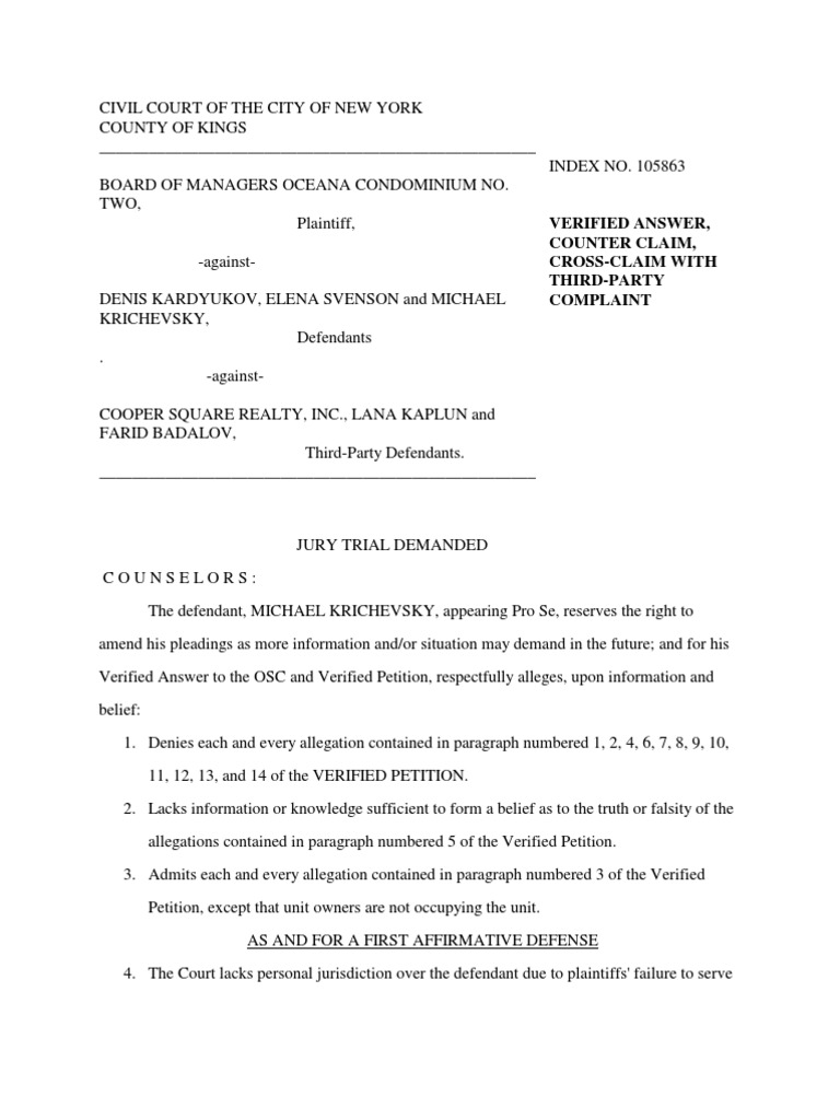 Delightful VERIFIED ANSWER, COUNTER CLAIM, CROSS CLAIM WITH THIRD PARTY COMPLAINT |  Lawsuit | Damages