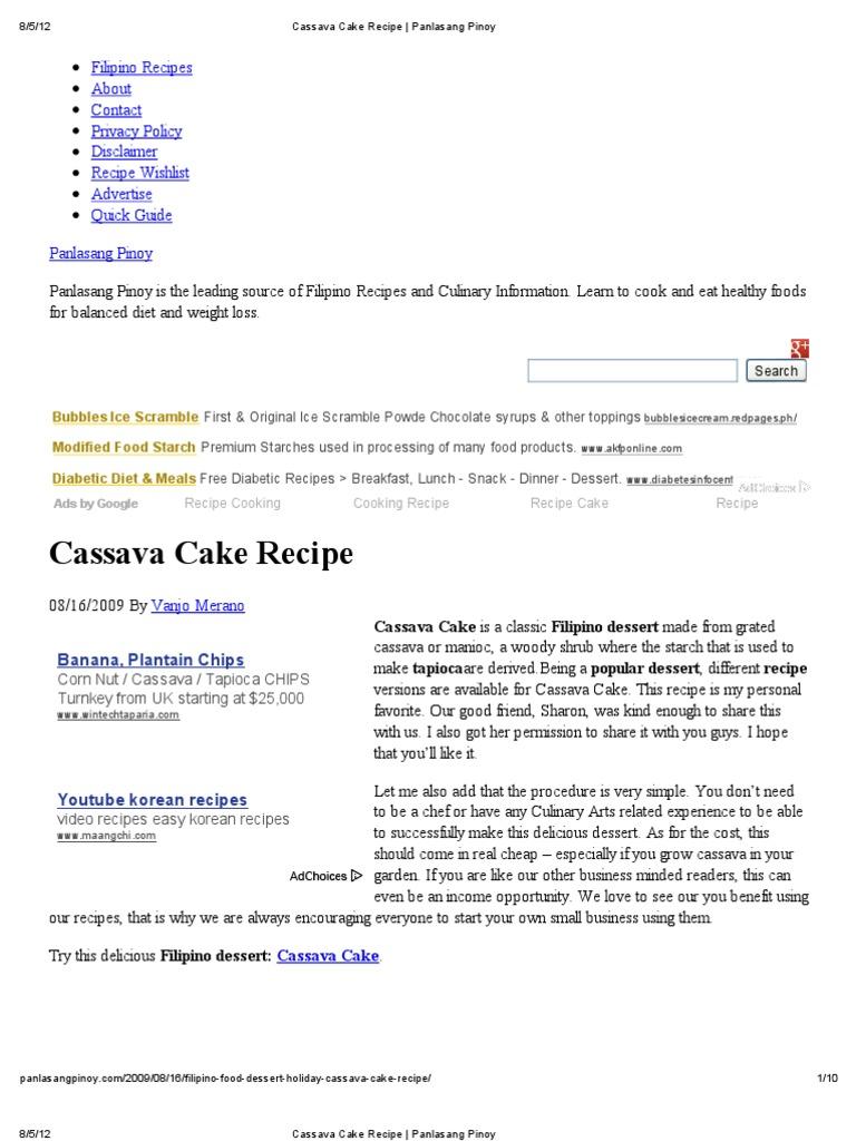 Cassava Cake Recipe Panlasang Pinoy Cakes Desserts