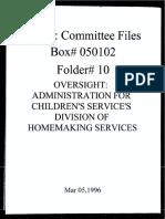 Box 050102 Folder 10 Oversight-Child Welfare Administration on Children's Services
