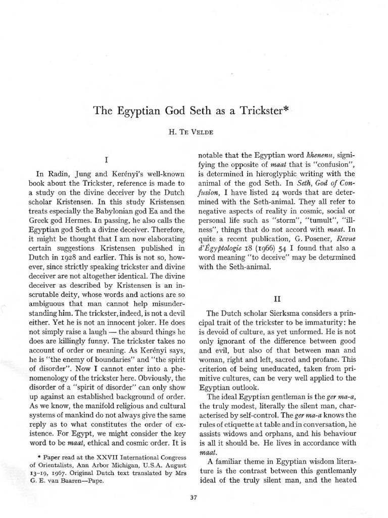 egyptian trickster god