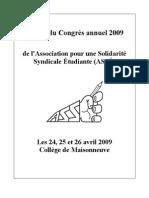 ASSÉ - Cahier du Congrès annuel - 24, 25 & 26 avril 2009