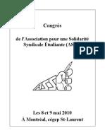 ASSÉ - Cahier du Congrès annuel - 8 & 9 mai 2010