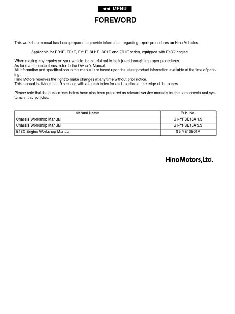 26l Brake Manual 1996 Yfb250 Timberwolf Wiring Diagram Array Hino 700 Direccion Suspension Transmission Steering Rh Es Scribd