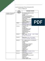 Calendario de Evaluaciones Segundo Semestre 2012