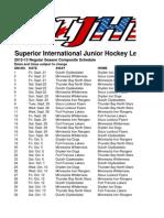 SIJHL Schedule 2012-13 Composite Schedule