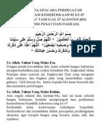 Doa Hut RI 17 Agustus Tahun 2012