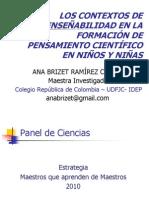 Contextos de Enseñabilidad en la Formación de Pensamiento Científico 2010
