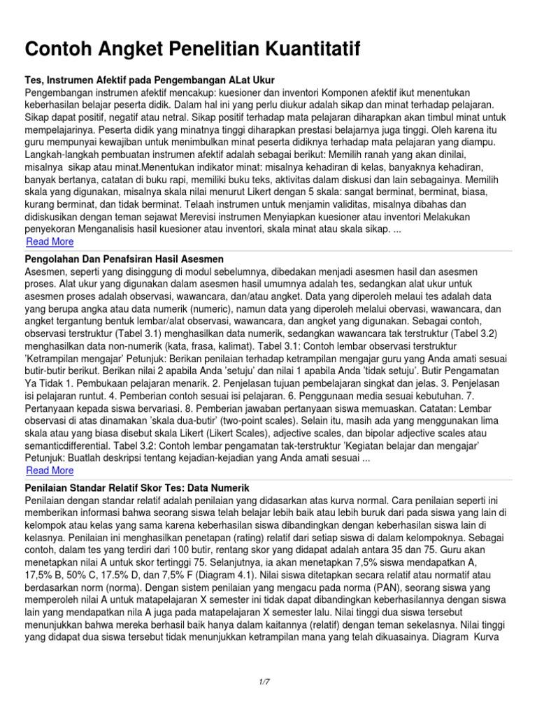 Contoh Angket Penelitian Kuantitatif 1