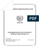 Courses of Other Unversities Equivalents to MDU Courses