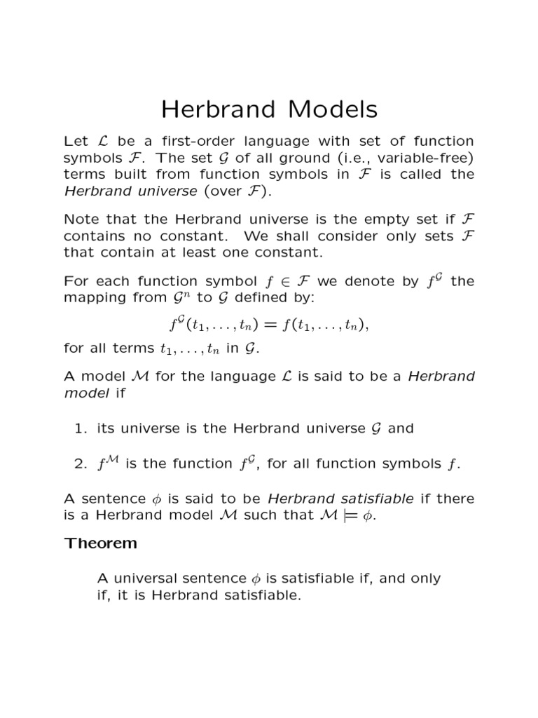 Herbrand Formalism Deductive Deductive Reasoning