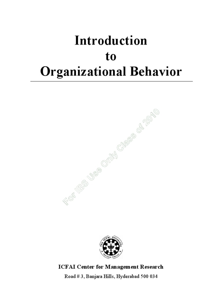 Workbooks dual diagnosis workbook free : Organizational Behavior ICMR Workbook | Organization Development ...