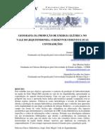 GEOGRAFIA DA PRODUÇÃO DE ENERGIA ELÉTRICA NO VALE DO JEQUITINHONHA
