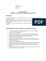 Ficha Técnica de actividades velocidad lectora (lectura remedial)