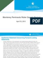 Monterey Peninsula Water Supply Project Presentation April 2012