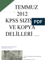 2012 KPSS (Lisans) Sızıntı ve Kopya Delilleri