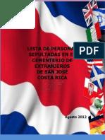 Lista de personas sepultadas en el Cementerio de Extranjeros de San Jose Costa Rica