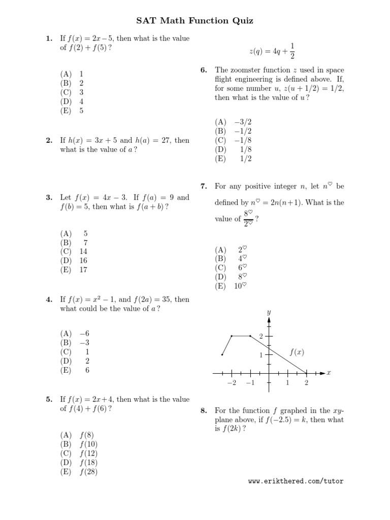 Sat Math Function Quiz   Function (Mathematics)   Cartesian