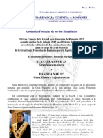 Comunicado de La Gran Logia Femenina de Rumania - 8 Agosto 2012