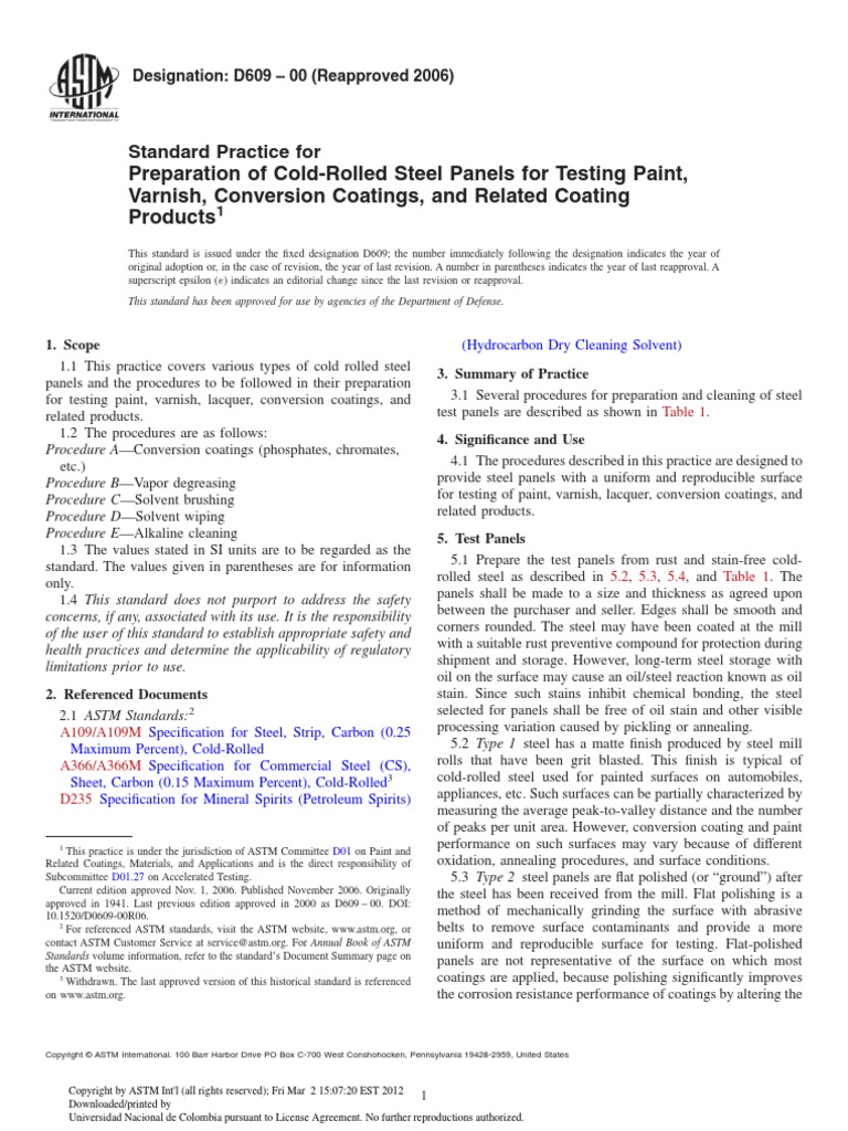 Standard Practice for Preparation of Cold-Rolled Steel